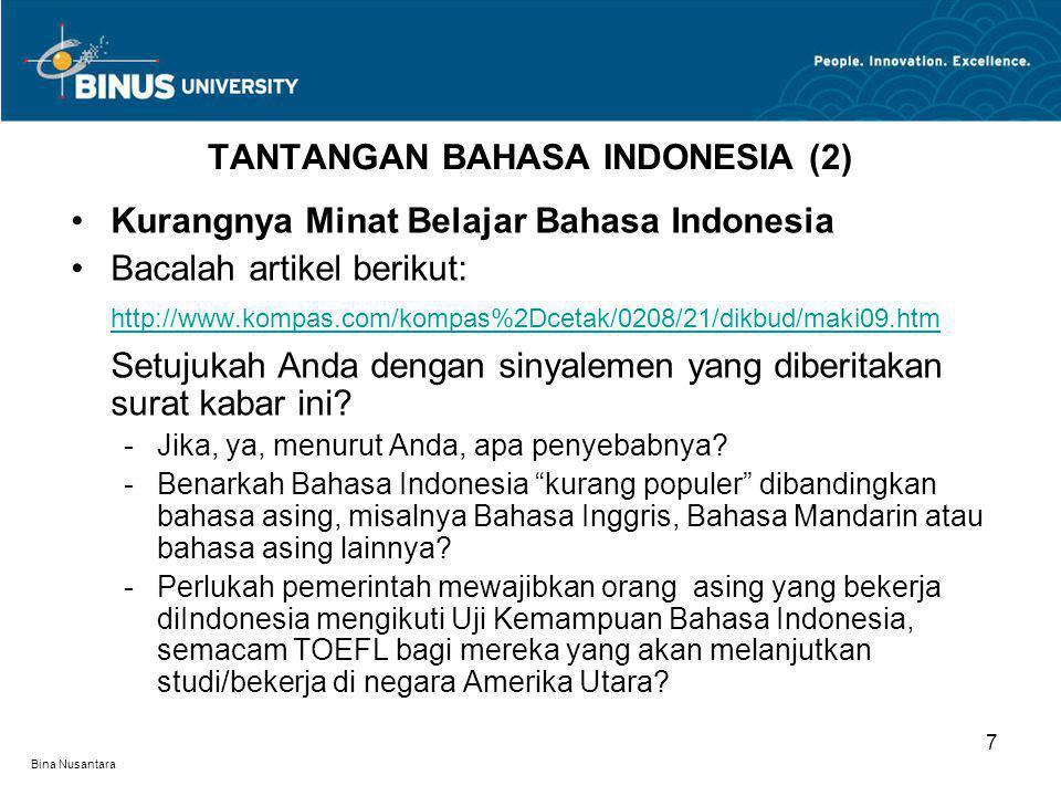 TANTANGAN BAHASA INDONESIA (2)