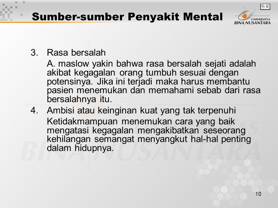 Sumber-sumber Penyakit Mental