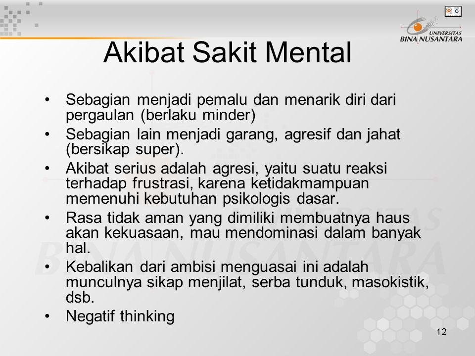 Akibat Sakit Mental Sebagian menjadi pemalu dan menarik diri dari pergaulan (berlaku minder)