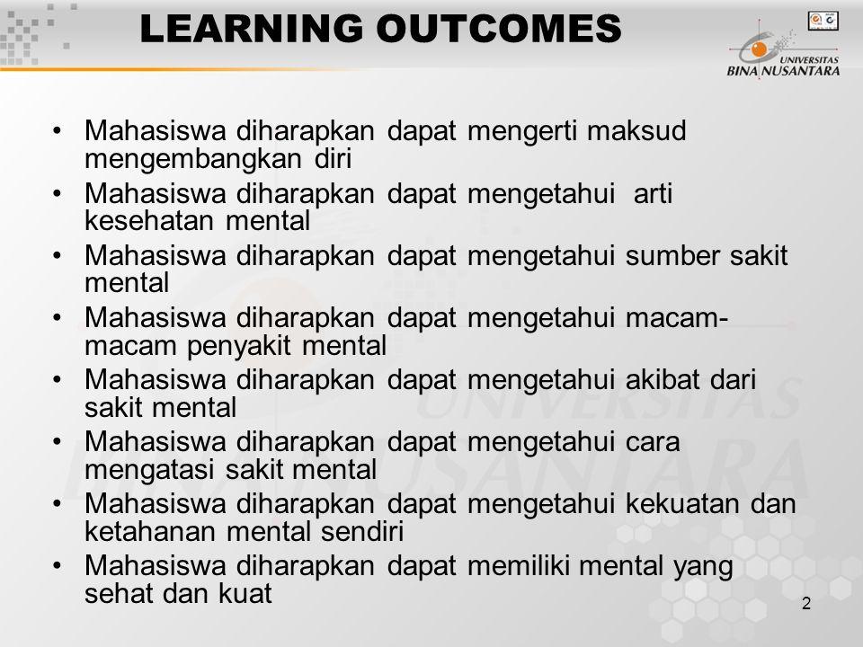 LEARNING OUTCOMES Mahasiswa diharapkan dapat mengerti maksud mengembangkan diri. Mahasiswa diharapkan dapat mengetahui arti kesehatan mental.