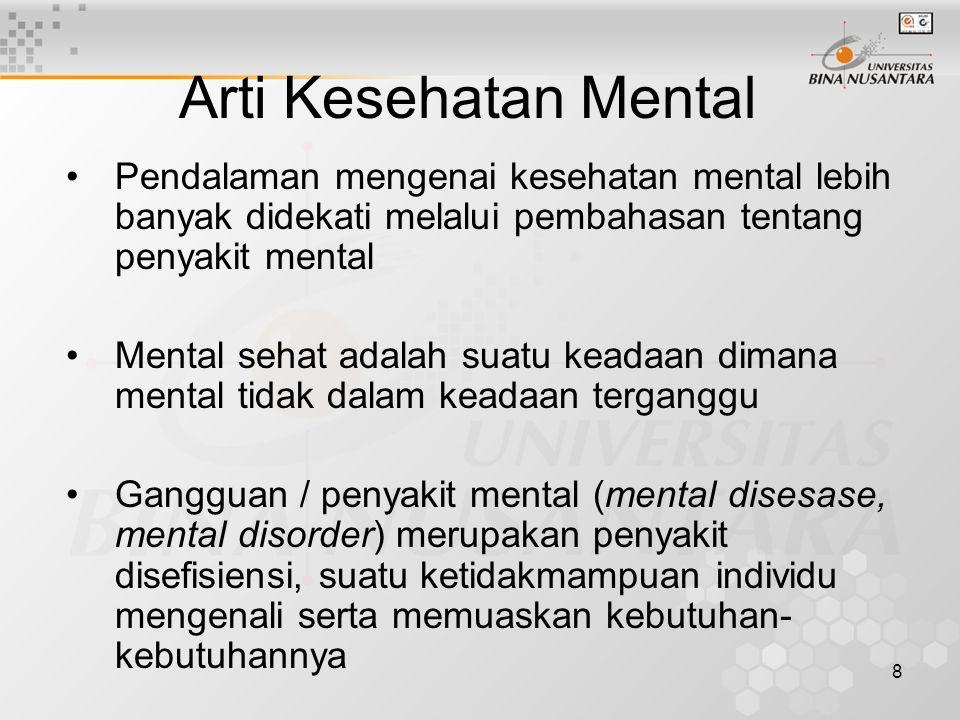 Arti Kesehatan Mental Pendalaman mengenai kesehatan mental lebih banyak didekati melalui pembahasan tentang penyakit mental.