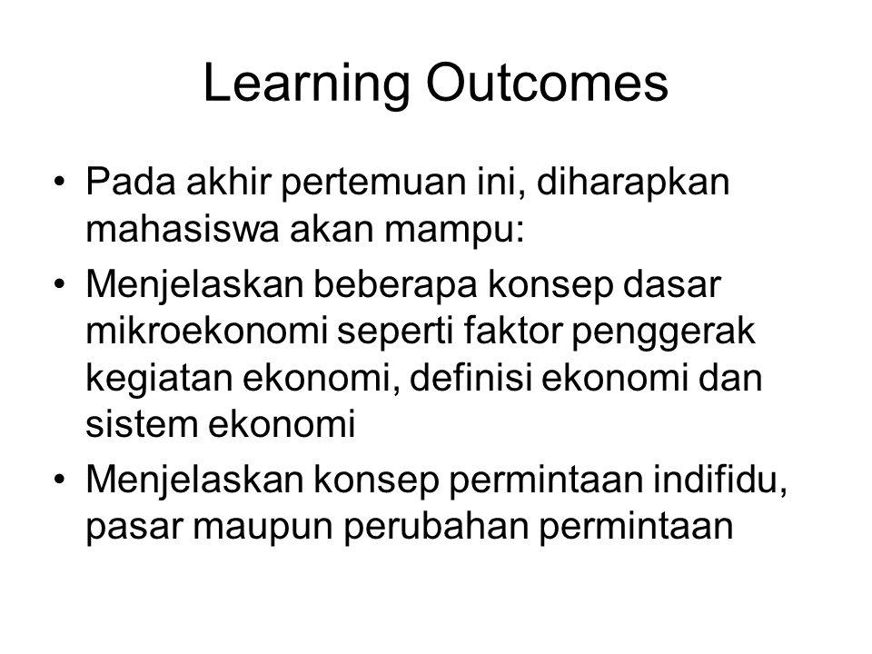 Learning Outcomes Pada akhir pertemuan ini, diharapkan mahasiswa akan mampu: