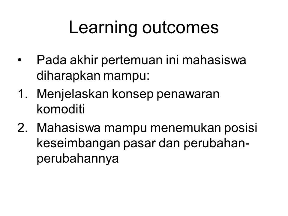 Learning outcomes Pada akhir pertemuan ini mahasiswa diharapkan mampu: