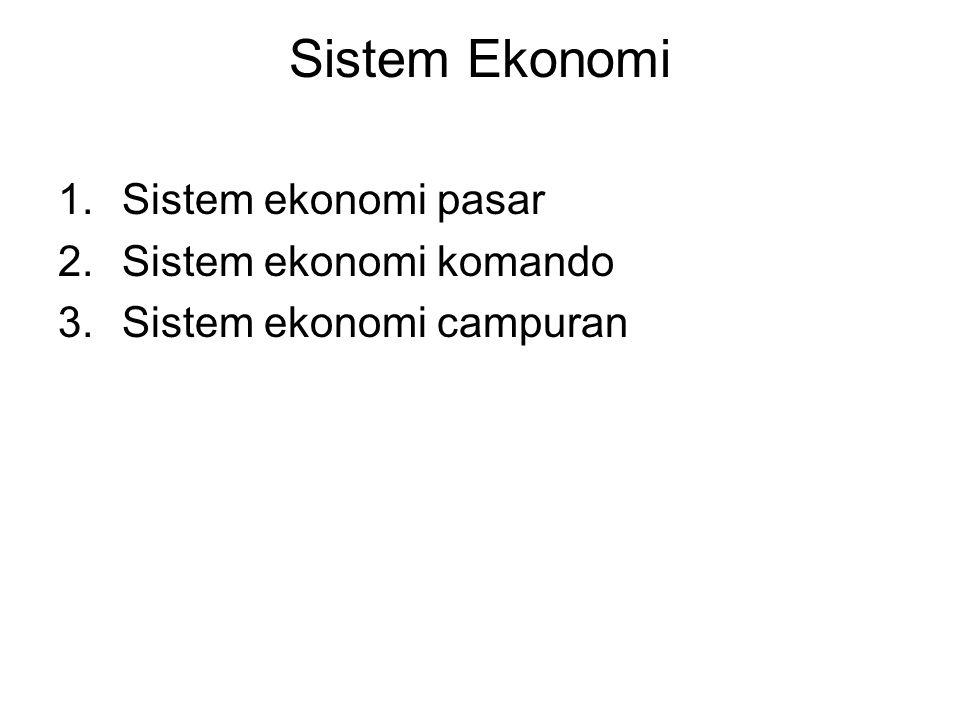 Sistem Ekonomi Sistem ekonomi pasar Sistem ekonomi komando