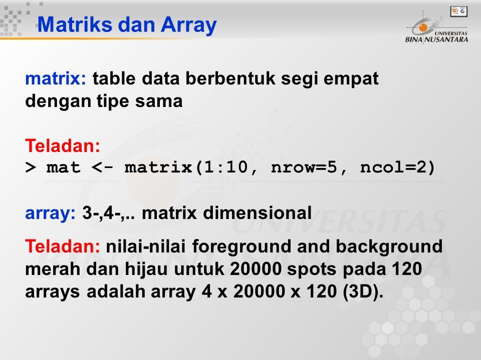 Matriks dan Array matrix: table data berbentuk segi empat dengan tipe sama. Teladan: > mat <- matrix(1:10, nrow=5, ncol=2)