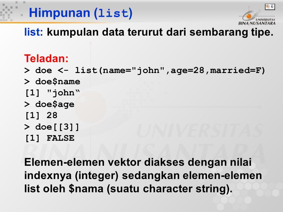 Himpunan (list) list: kumpulan data terurut dari sembarang tipe.