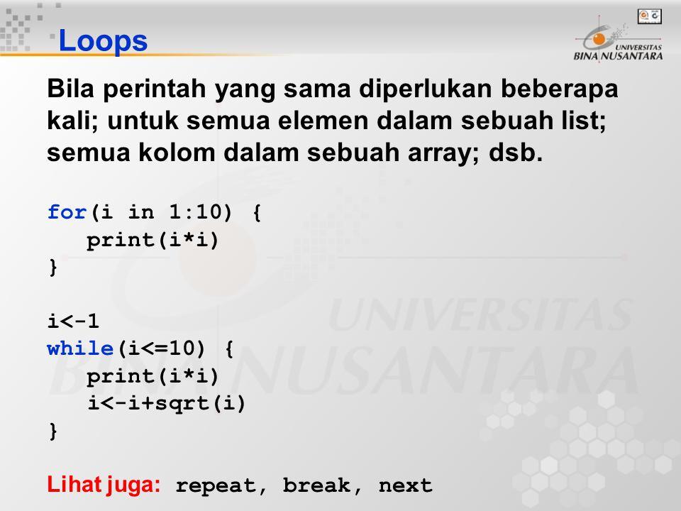 Loops Bila perintah yang sama diperlukan beberapa kali; untuk semua elemen dalam sebuah list; semua kolom dalam sebuah array; dsb.