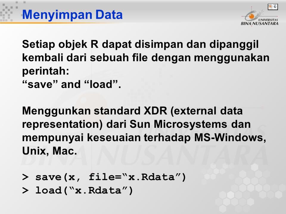 Menyimpan Data Setiap objek R dapat disimpan dan dipanggil kembali dari sebuah file dengan menggunakan perintah:
