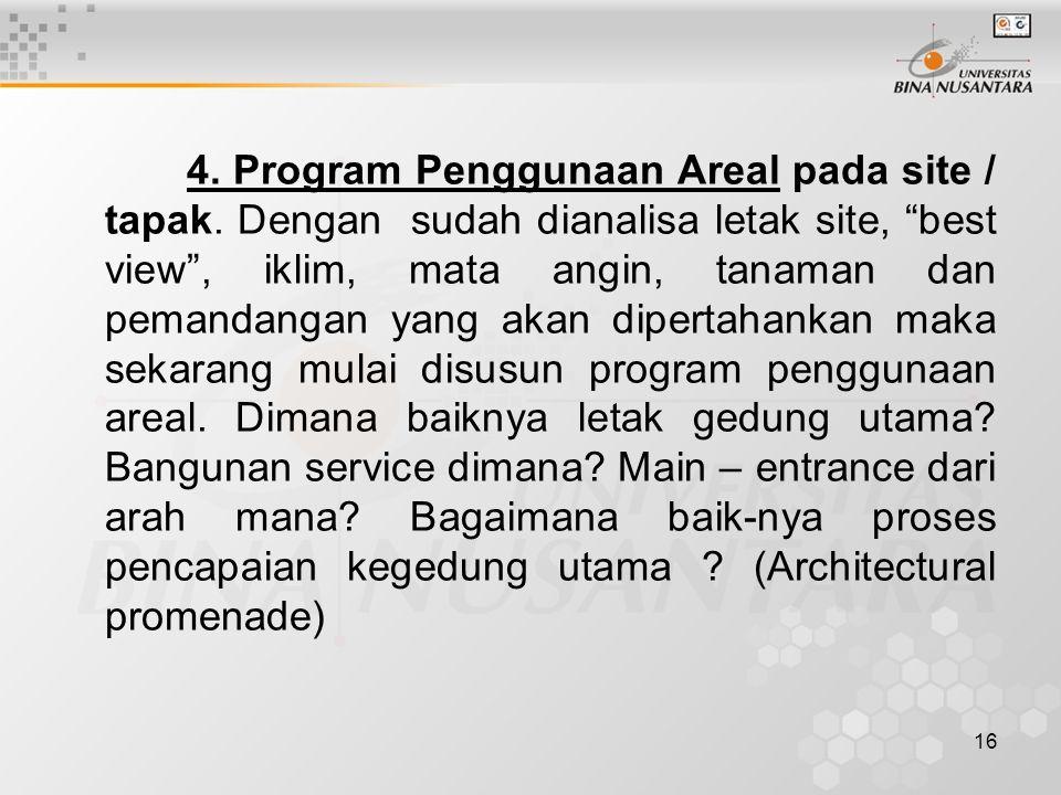 4. Program Penggunaan Areal pada site / tapak