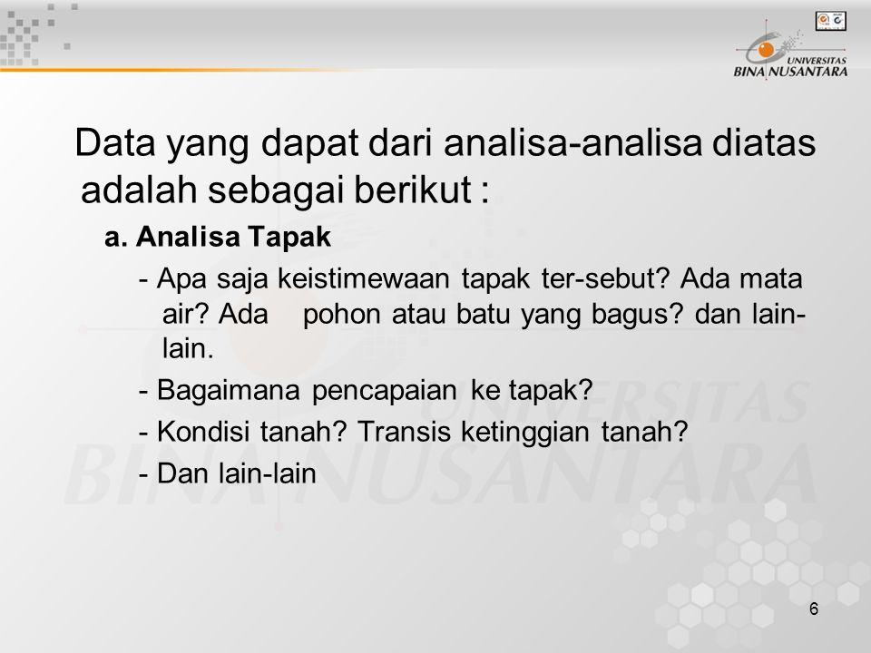 Data yang dapat dari analisa-analisa diatas adalah sebagai berikut :