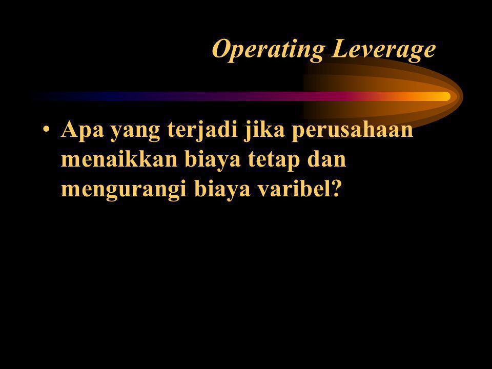 Operating Leverage Apa yang terjadi jika perusahaan menaikkan biaya tetap dan mengurangi biaya varibel