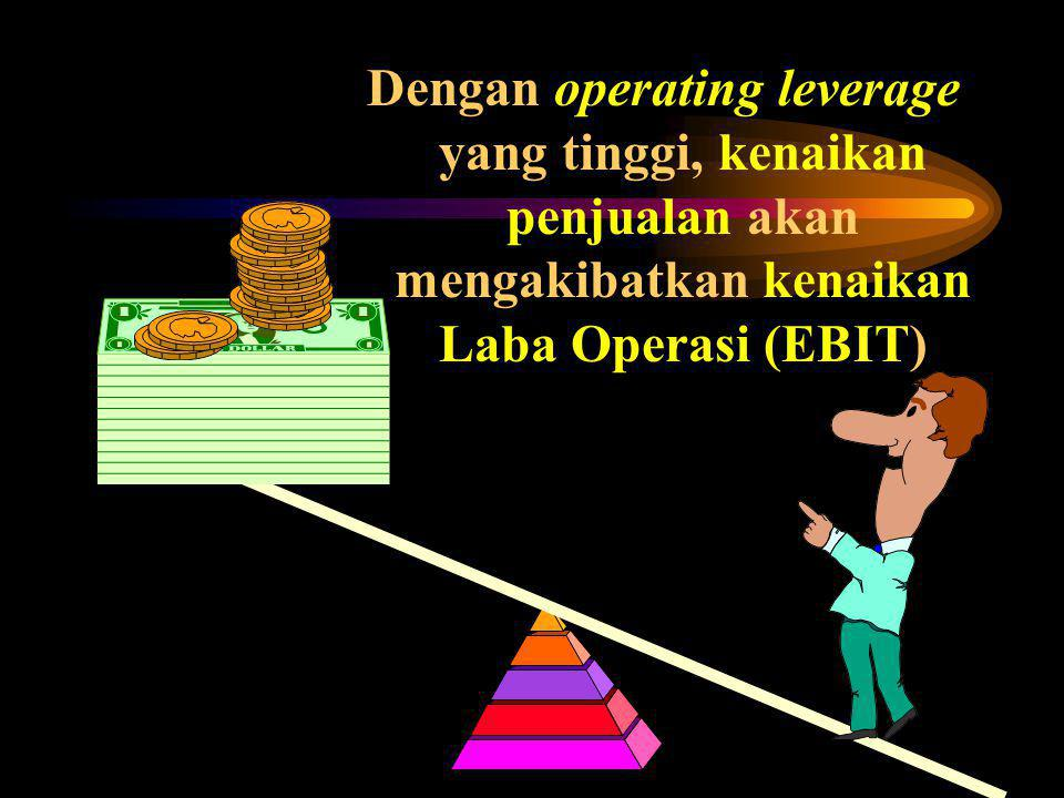 Dengan operating leverage yang tinggi, kenaikan penjualan akan mengakibatkan kenaikan Laba Operasi (EBIT)