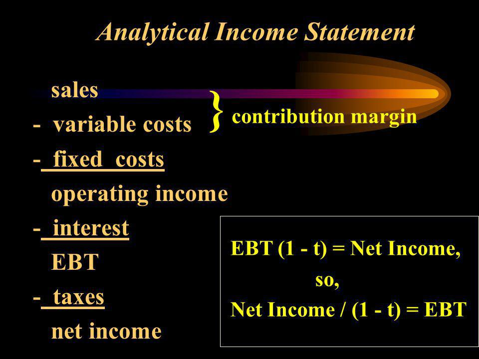 Analytical Income Statement