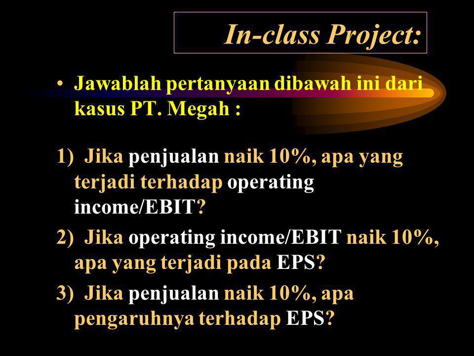 In-class Project: Jawablah pertanyaan dibawah ini dari kasus PT. Megah :