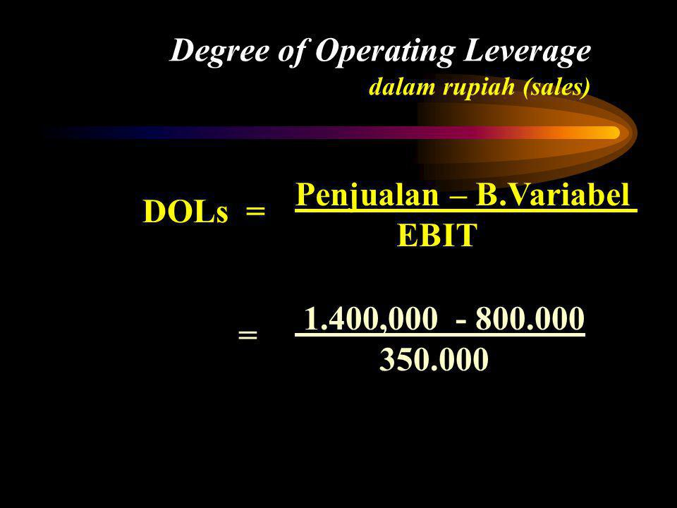 Degree of Operating Leverage dalam rupiah (sales)