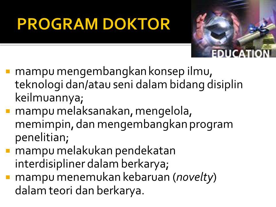 PROGRAM DOKTOR mampu mengembangkan konsep ilmu, teknologi dan/atau seni dalam bidang disiplin keilmuannya;