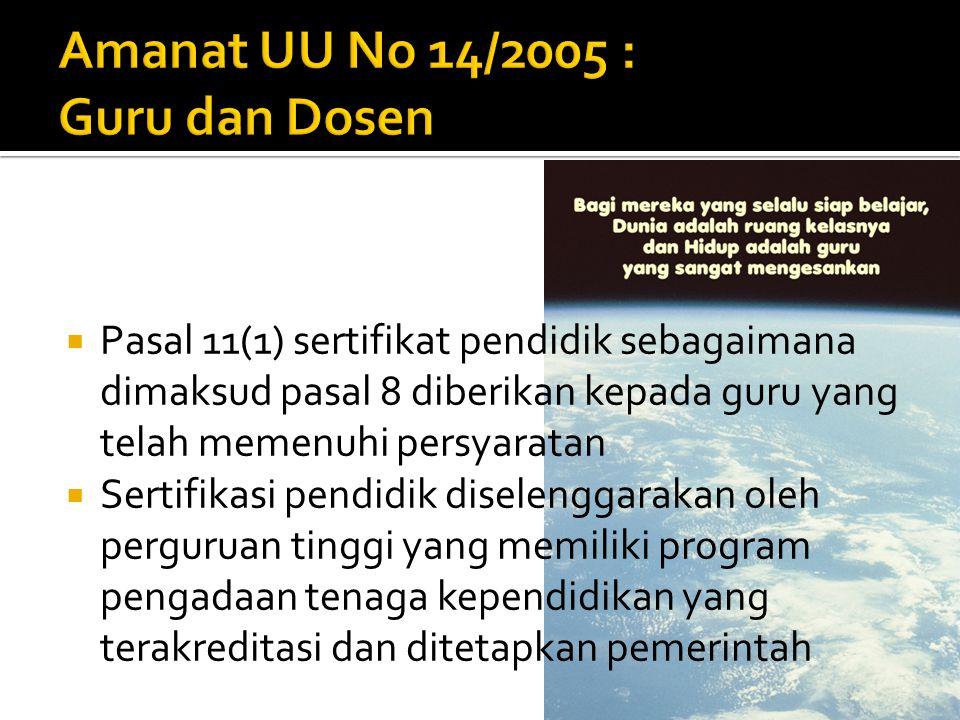 Amanat UU No 14/2005 : Guru dan Dosen