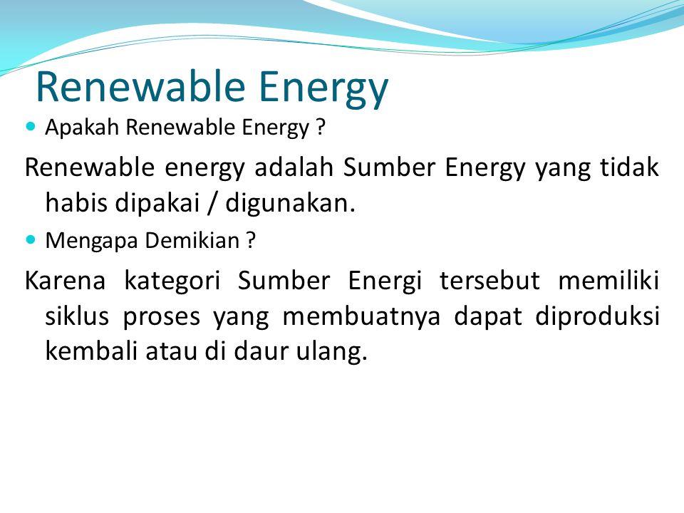 Renewable Energy Apakah Renewable Energy Renewable energy adalah Sumber Energy yang tidak habis dipakai / digunakan.