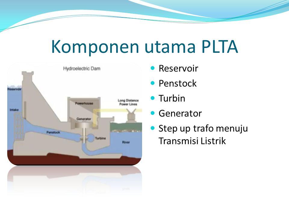 Komponen utama PLTA Reservoir Penstock Turbin Generator