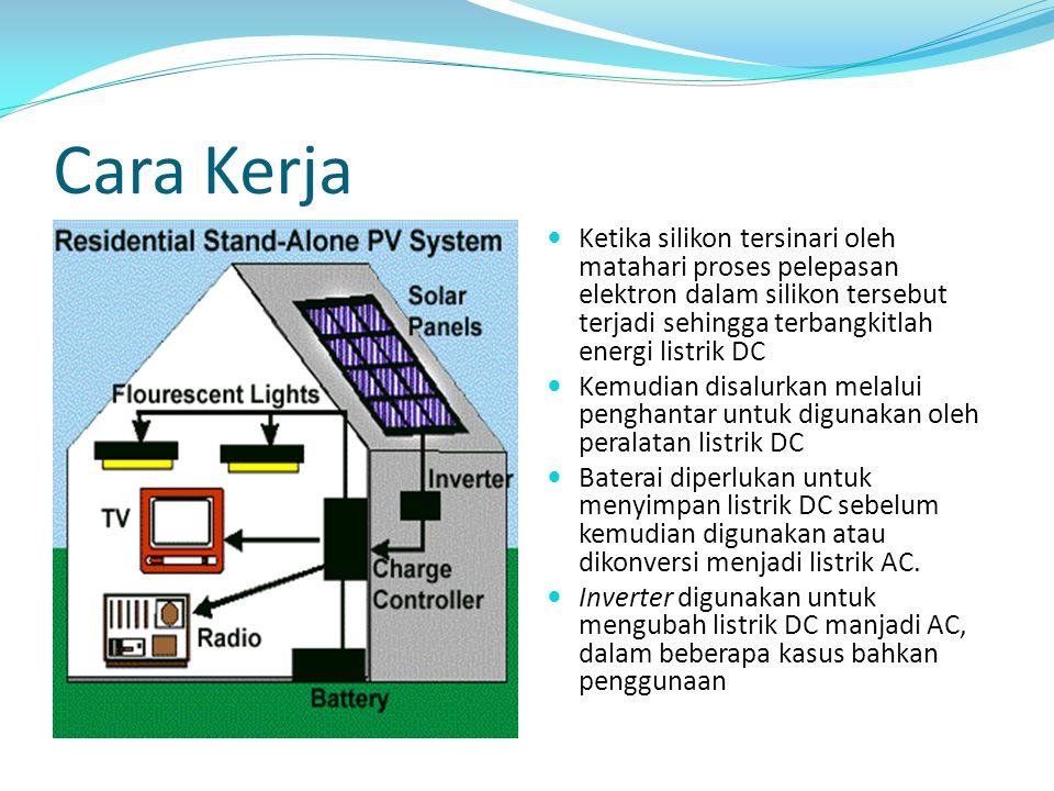 Cara Kerja Ketika silikon tersinari oleh matahari proses pelepasan elektron dalam silikon tersebut terjadi sehingga terbangkitlah energi listrik DC.
