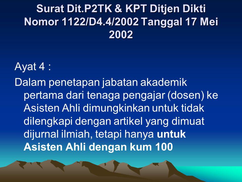 Surat Dit. P2TK & KPT Ditjen Dikti Nomor 1122/D4