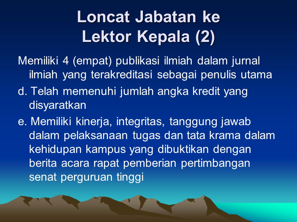 Loncat Jabatan ke Lektor Kepala (2)