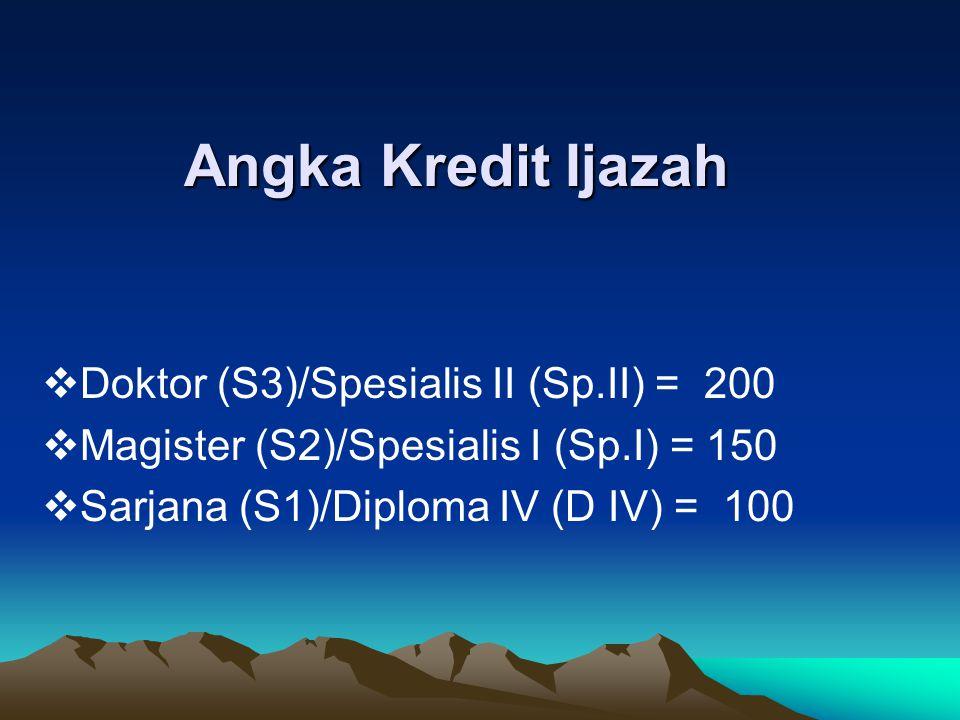 Angka Kredit Ijazah Doktor (S3)/Spesialis II (Sp.II) = 200