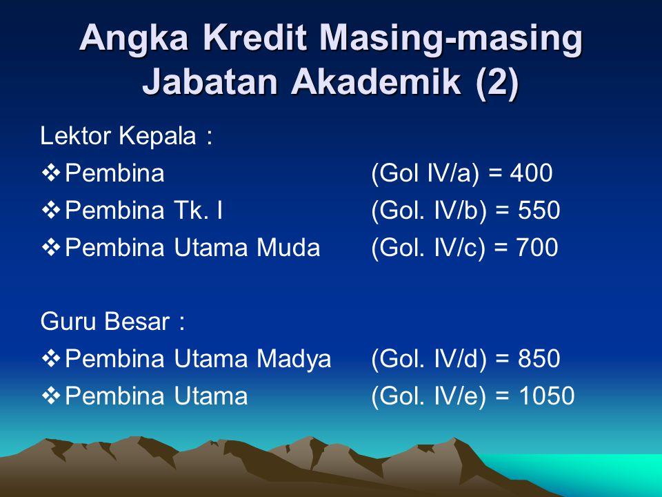 Angka Kredit Masing-masing Jabatan Akademik (2)