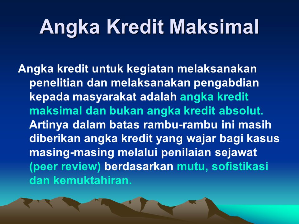 Angka Kredit Maksimal
