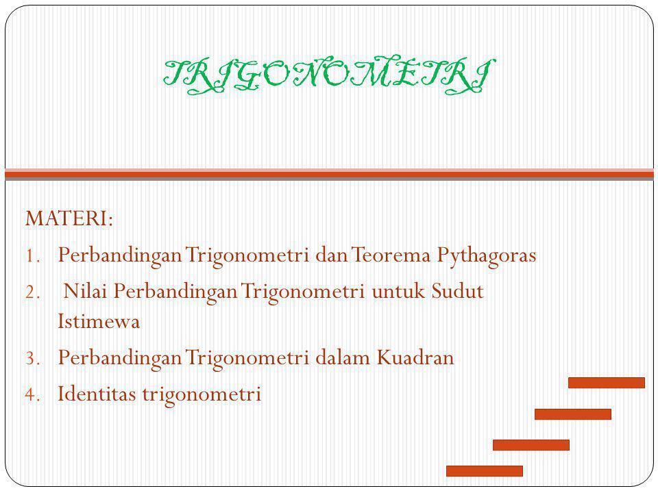 TRIGONOMETRI MATERI: Perbandingan Trigonometri dan Teorema Pythagoras