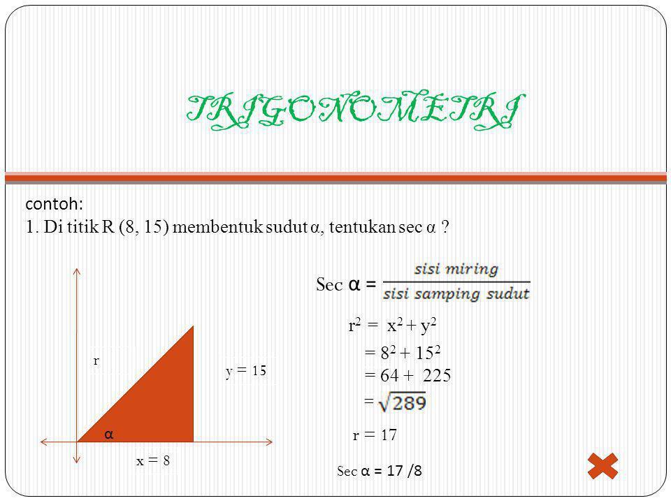 TRIGONOMETRI Sec α = contoh: