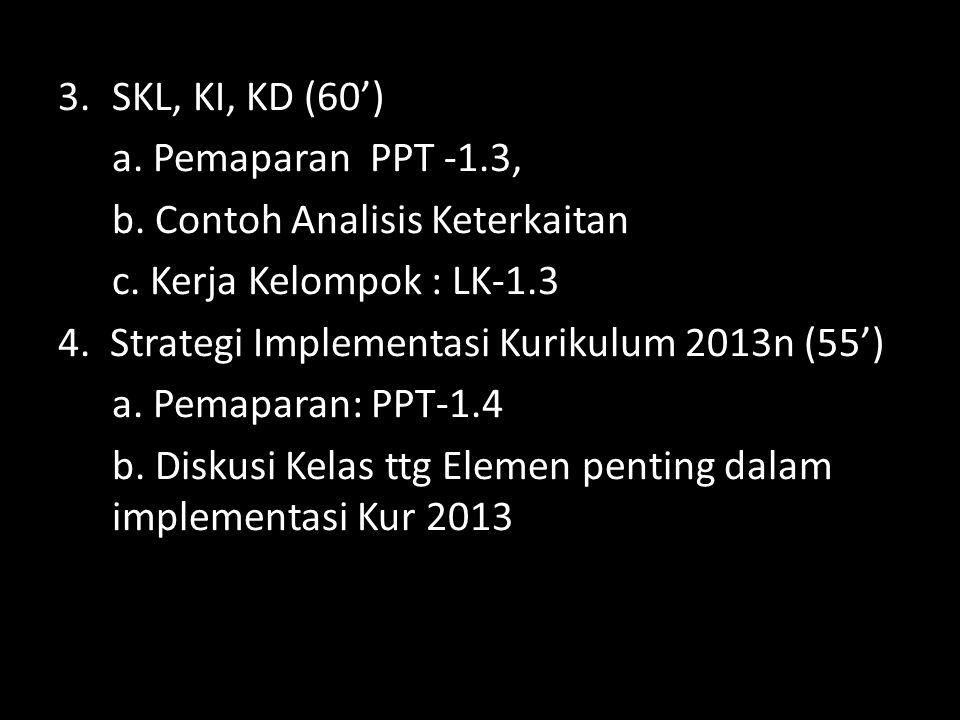 SKL, KI, KD (60') a. Pemaparan PPT -1.3, b. Contoh Analisis Keterkaitan. c. Kerja Kelompok : LK-1.3.