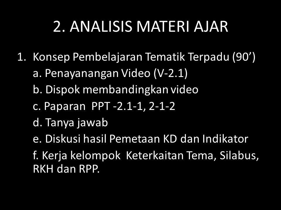 2. ANALISIS MATERI AJAR Konsep Pembelajaran Tematik Terpadu (90')