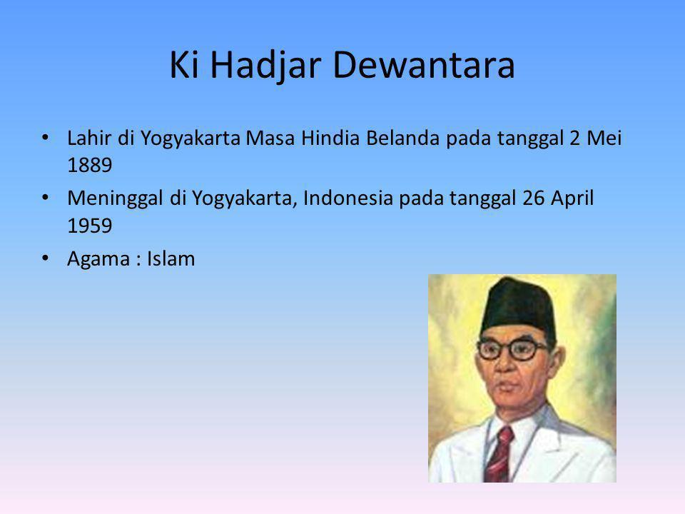 Ki Hadjar Dewantara Lahir di Yogyakarta Masa Hindia Belanda pada tanggal 2 Mei 1889. Meninggal di Yogyakarta, Indonesia pada tanggal 26 April 1959.