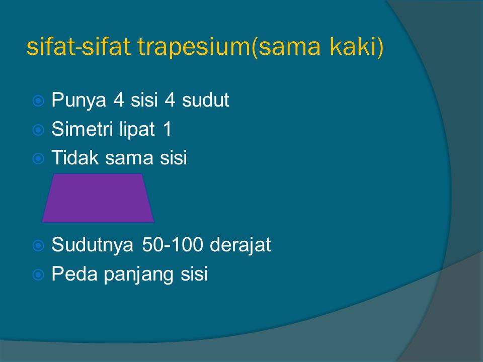 sifat-sifat trapesium(sama kaki)