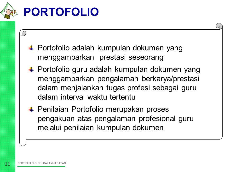 PORTOFOLIO Portofolio adalah kumpulan dokumen yang menggambarkan prestasi seseorang.