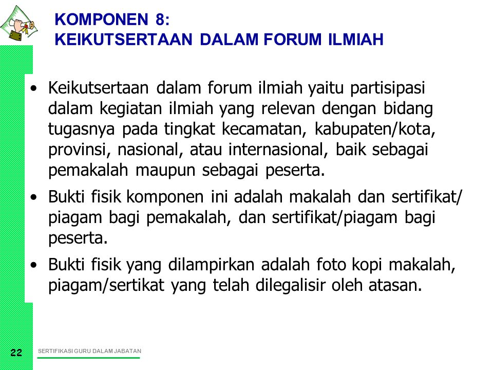 KOMPONEN 8: KEIKUTSERTAAN DALAM FORUM ILMIAH