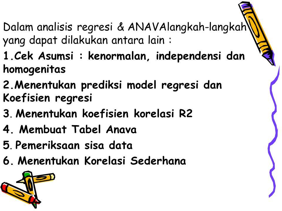 Dalam analisis regresi & ANAVAlangkah-langkah yang dapat dilakukan antara lain :