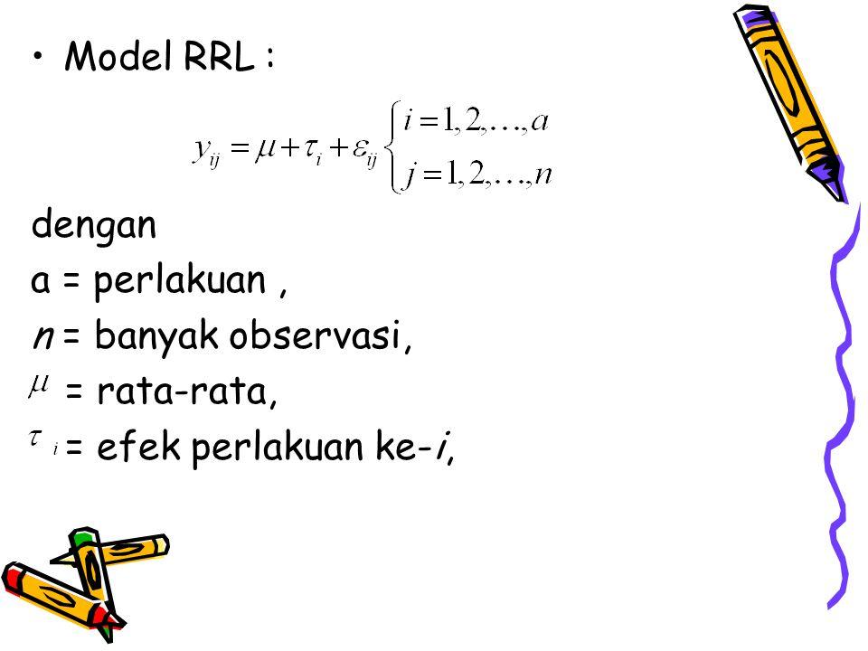 Model RRL : dengan a = perlakuan , n = banyak observasi, = rata-rata, = efek perlakuan ke-i,