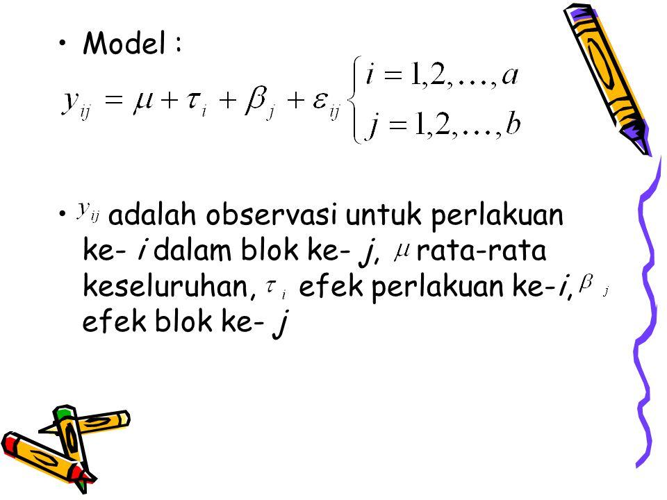Model : adalah observasi untuk perlakuan ke- i dalam blok ke- j, rata-rata keseluruhan, efek perlakuan ke-i, efek blok ke- j.