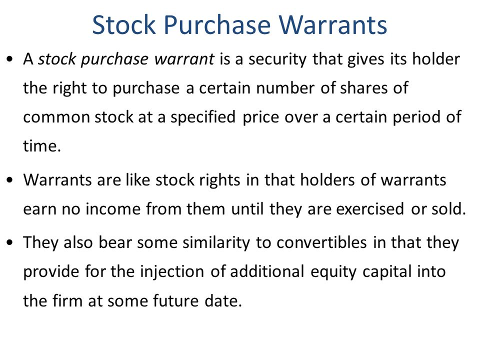 Stock Purchase Warrants