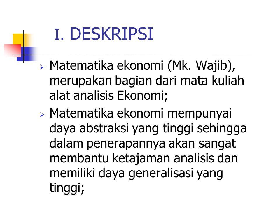 I. DESKRIPSI Matematika ekonomi (Mk. Wajib), merupakan bagian dari mata kuliah alat analisis Ekonomi;