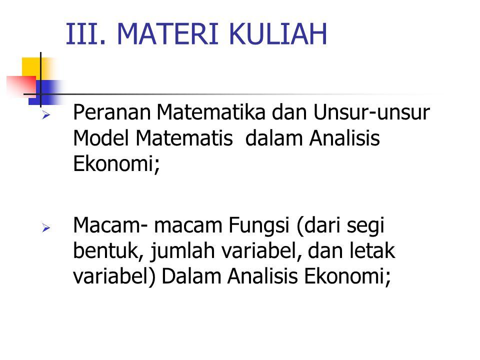 III. MATERI KULIAH Peranan Matematika dan Unsur-unsur Model Matematis dalam Analisis Ekonomi;