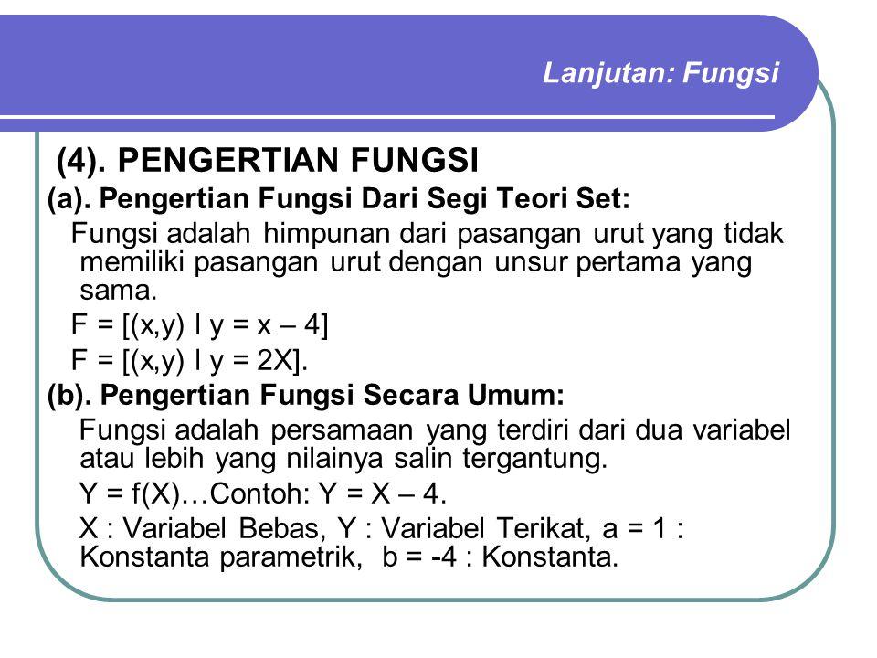 Lanjutan: Fungsi (4). PENGERTIAN FUNGSI