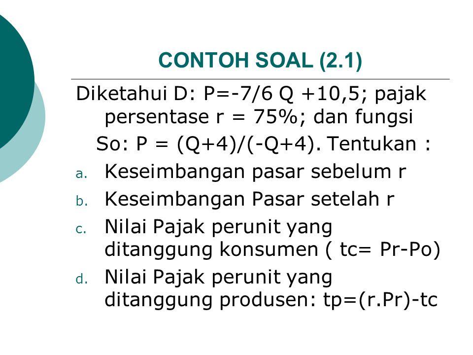 CONTOH SOAL (2.1) Diketahui D: P=-7/6 Q +10,5; pajak persentase r = 75%; dan fungsi. So: P = (Q+4)/(-Q+4). Tentukan :