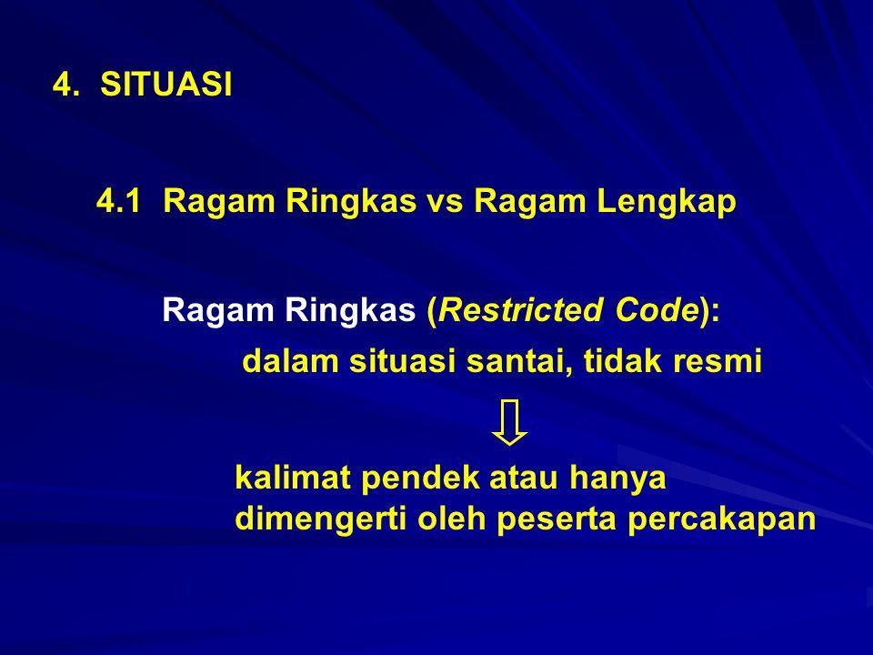 4. SITUASI 4.1 Ragam Ringkas vs Ragam Lengkap. Ragam Ringkas (Restricted Code): dalam situasi santai, tidak resmi.