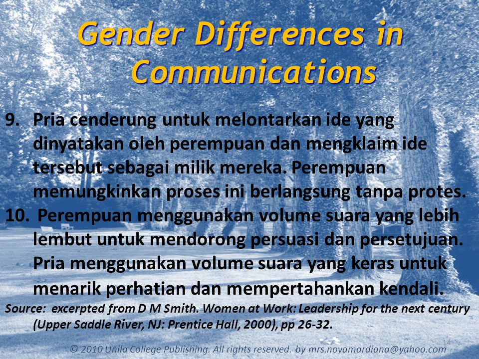 Gender Differences in Communications