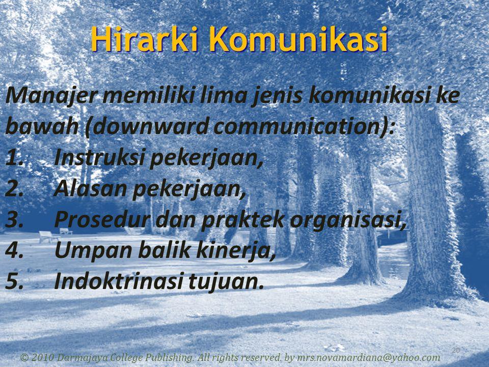 Hirarki Komunikasi Manajer memiliki lima jenis komunikasi ke bawah (downward communication): Instruksi pekerjaan,