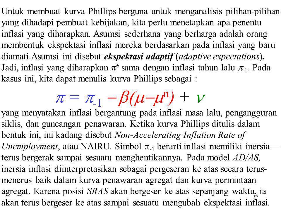 Untuk membuat kurva Phillips berguna untuk menganalisis pilihan-pilihan