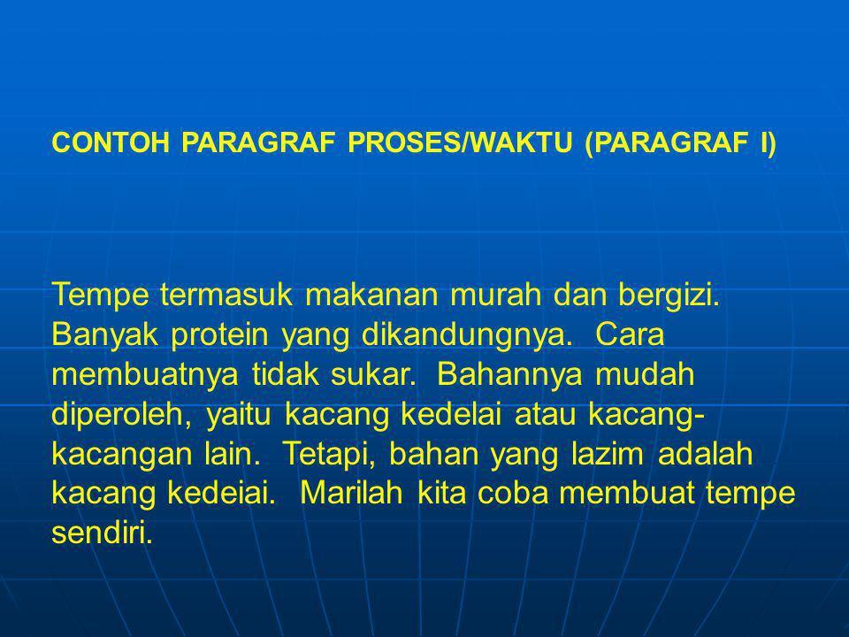 CONTOH PARAGRAF PROSES/WAKTU (PARAGRAF I)
